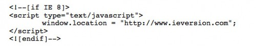 IE8 code snippet
